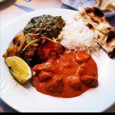 Indian food! Chicken tika masala and tandori chicken   Spinach, rice and nan bread