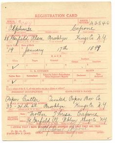 Al Capone Draft registration card for WWI--source, U.S. National Archives
