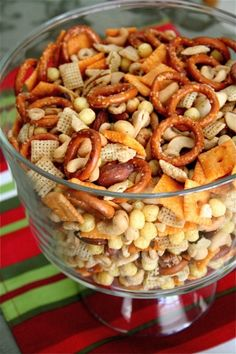 Festive Party Mix by The Curvy Carrot Savory Snacks, Healthy Appetizers, Easy Snacks, Appetizers For Party, Healthy Snacks, Snack Mix Recipes, Snack Mixes, Appetizer Sandwiches, Party Mix