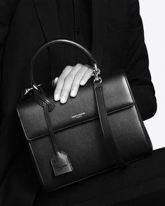 saintlaurent, Small Moujik Bag in Black Leather  Diese und weitere Taschen auf www.designertaschen-shops.de entdecken