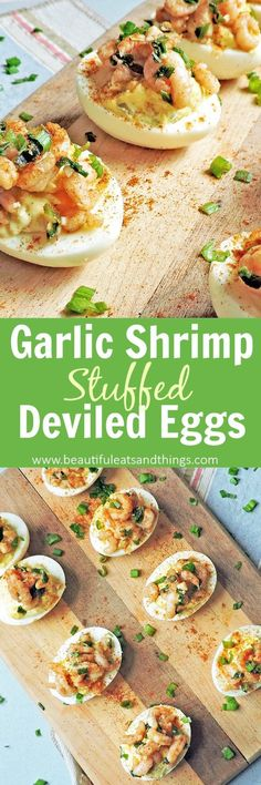 A delicious appetizer for holiday parties. Deviled eggs are a Southern favorite and the perfect appetizer for the holiday season. Surprise your guests with these Garlic Shrimp Stuffed Deviled Eggs! Appetizers For A Crowd, Seafood Appetizers, Appetizer Dips, Healthy Appetizers, Seafood Recipes, Appetizer Recipes, Tailgating Recipes, Tailgate Food, Grilling Recipes