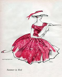 Summer in Red dress by Mollie Parnis, 1956. Sketch by Erica. via:
