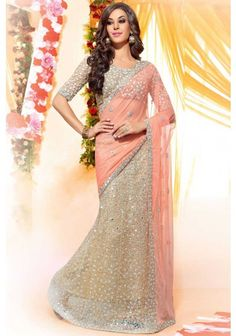 Coral #Pink and Cream #Yellow Net Embroidered Party Saree Sku Code: 10-6499SA634404 US $65.00 http://www.sareez.com/coral-pink-and-cream-yellow-net-embroidered-party-saree.html