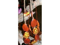 Tribal Sunrise - Handmade, one of a kind Tagua Nut Jewelry (Palm Ivory) Necklace & Earring Set of 2 - Scentsations