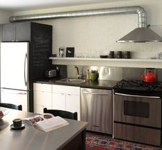 Basement #kitchen - An IKEA butcher-block countertop was professionally stained and sealed, a job that should be left to the experts if you want it to last, Stephanie advises. The cabinetry is a mix of stock IKEA boxes and custom doors. Salvaged from a nunnery, the table seats eight; its top was wrapped in stainless steel so it could serve as extra prep space.