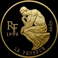 France 1996 'The Thinker' 500 Francs 1oz Gold Proof Coin. This coin was issued honouring treasures of the museums of Europe showcasing Rodin's famous sculpture.