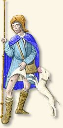 A plague victim reveals the telltale buboe on his leg. From a 14th century illumination