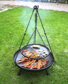 Traditional Tripod Cooking Rack available to fit large and small fire pits, including grill for cooking. Small Fire Pit, Fire Pit Grill, Fire Pit Backyard, Fire Pits, Garden Fire Pit, Open Fire Cooking, Cooking On The Grill, Fire Pit Cooking Grill, Outdoor Cooking
