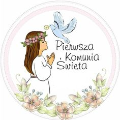 Opłatek First Communion Favors, Candy Bar Labels, Page Borders Design, Baptism Decorations, Religious Images, Personalized Favors, Printable Paper, My Images, Machine Embroidery Designs