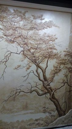 new ideas for wall murals painted tree art Clay Wall Art, Mural Wall Art, Tree Wall Art, Tree Art, Plaster Art, Plaster Walls, Sculpture Painting, Wall Sculptures, Stencil Painting