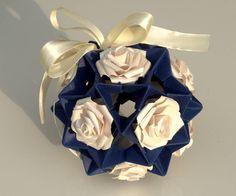 Origami Kusudama Balls. Origami Christmas ornament. Paper Christmas decoration. Xmas decorations