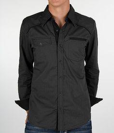 Buckle Black Polished Tonal Stripe Shirt