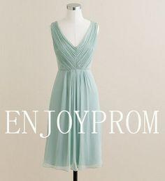 Sheath/Column V-neck Chiffon knee-Length Bridesmaid/Evening/Prom Dress$75.00