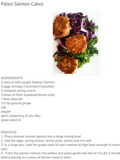 Paleo Ginger & Dill Salmon Cakes.