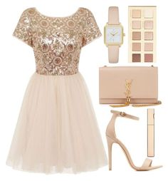 """""""party dress"""" by j-n-a ❤ liked on Polyvore featuring Chi Chi, Charlotte Russe, Yves Saint Laurent, Kate Spade, LORAC, Clarins and partydress"""