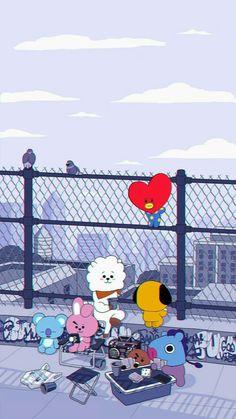 Pop&Joy: The best Wallpapers and Screensavers of BTS Bear Wallpaper, Kawaii Wallpaper, Cute Wallpaper Backgrounds, Cute Cartoon Wallpapers, Disney Wallpaper, Iphone Wallpaper, Bts Playlist, Bts Drawings, Bts Chibi