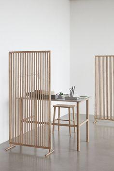 Hubsch Interior - Folding screen, room divider made of oak - - - Bar Furniture, Home Office Furniture, Home Office Decor, Living Room Furniture, Home Decor, Office Ideas, Corner Furniture, Business Furniture, Office Designs