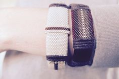 EcoChic Brown Seed Bead Beaded Bangle by Cape Cod Jewelry Designer Ezartesa.