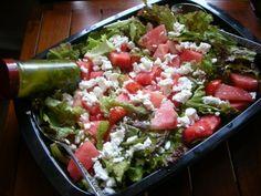 watermelon feta salad with red leaf lettuce