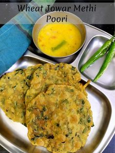 Wheat Jowar Methi Poori is a deep fried Indian poori made with wheat flour and jowar flour with the goodness of fenugreek leaves. Puri Recipes, Millet Recipes, Healthy Options, Side Dishes, Vegetarian, Red Chili, Indian, Snacks, Cooking Oil