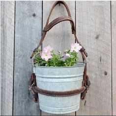 Hanging Flower Planter Pot Vintage Galvanized Bucket Leather Horse Bridle Garden Decor Rustic Ranch Farmhouse Barn - All About Rustic Garden Decor, Rustic Gardens, Country Decor, Outdoor Gardens, Farmhouse Decor, Farmhouse Garden, Vintage Farmhouse, Hanging Flower Pots, Flower Planters