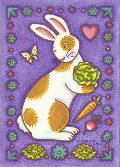 RABBIT Portrait Country Folk Art Bunny Cabbage Patch by susanbrack