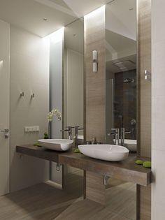 vein cut travertine style tiles, wall hung stone vanity shelf, counter top…