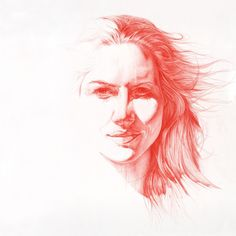 Claire (daan Noppen) red pencil on paper size 145x145cm via...