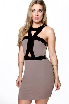 Plus Leah Contrast Panel Bodycon Midi Dress