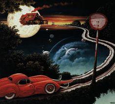 Back to Home - (Jacek Yerka) #art #surrealism #painting #yerka #red #car #road #traffic #dark #symbolism