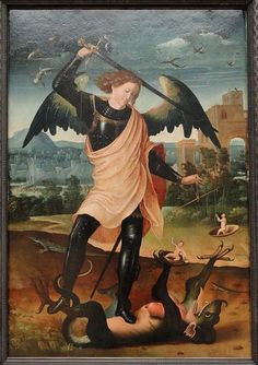 Image result for Neri di Bicci: The fall of the rebel angels with St Michael fighting the dragon (detail). C.1480. Image courtesy the Museum Boijmans Van Beuningen.