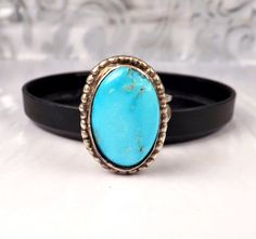 Navajo Sterling Silver Turquoise Ring Bold by LittleBittreasures
