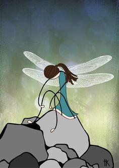 """Exhausted dragonfly"" Illustration: © Trine Kvalnes"