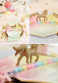 Unicorn Birthday Party Ideas - Place Settings at the Party Table - JenTbyDesign.com