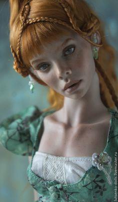 Купить Элина, фарфор. - оранжевый, шарнирная кукла, коллекционная кукла, фарфор, кукла из фарфора
