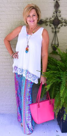 50 IS NOT OLD | STYLING PALAZZO PANTS | Colorful | Bright Colors | Summer Outfit | Fashion over 40 for the everyday woman #palazzo #lace #over 40 #summer #plunderjewelry