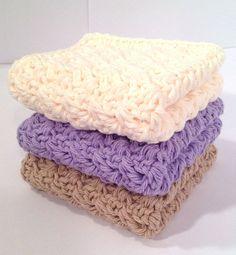 Cotton Crochet Washcloth Set  Purple Tan and by DapperCatDesigns, $10.00