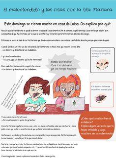 Relato infantil sobre enfados.  #relato #texto #infantil #niños #educación #lectura Peanuts Comics, Mariana, Texts, Reading