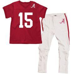 Alabama Crimson Tide Youth Football Pajama Set - Crimson/White