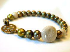 Golden Green Pearl and Fossil Bracelet Creamy Fossil by ksyardbird