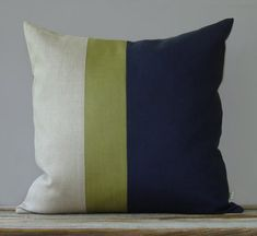 Linden Green and Navy Color Block Pillow (20x20) Fall Home Decor by JillianReneDecor - Fall 2013