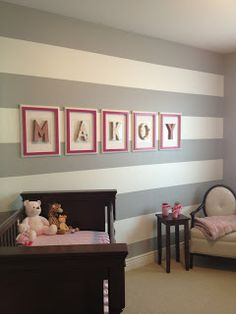 Crafty Mama Grey stripes Grey and pink baby girl room Letters Modge podge letters Pink mason jar succulent garden Pink and white frames