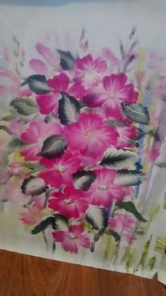 this one stroke pink flowers was a practice piece before I painted it on wood. I actually like this better than the finished piece on wood.