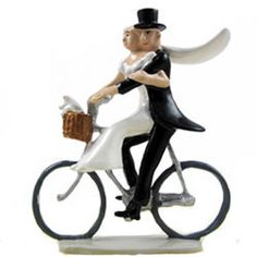 I LOVE this caketopper!!! French Wedding Cake Toppers - Newlyweds on a Bicycle Wedding Cake Topper