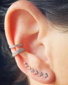 White on White...Epic Seven Diamond Climber and Diamond Ear Cuffs all in 14K White Gold. Pin it now and check it out at the EarStylist by Jo Nayor... www.earstylist.com