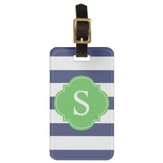Green and Blue Stripes Monogram Luggage Tag