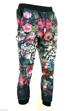 KAYDEN K sublimation print jogger pants two leopards with flowers S - XL #KAYDENK #JOGGER