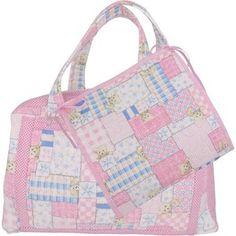 Bolsa Maternidade de Patchwork Rosa de Ursinhas com Porta Fraldas