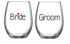 Bride and Groom Stemless Wine Glasses,Engagement gift, wedding Gift,Br – Hucklett's Creations
