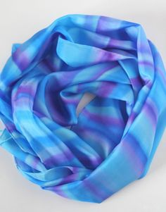 Silk Scarf Hand Dyed in Aqua Blue  and Purple by silkiness on Etsy